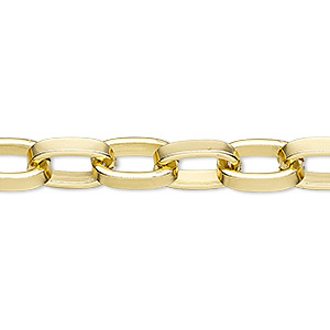 chain, gold-finished aluminum, 12x8mm oval rolo. sold per pkg of 5 feet.