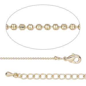 chain, gold-finished brass, 1mm ball, 18 inches with 2-inch extender chain and lobster claw clasp. sold individually.