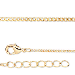 chain, gold-finished brass, 1mm curb, 7-1/2 inches with 1-1/4 inch extender chain and lobster claw clasp. sold per pkg of 6.