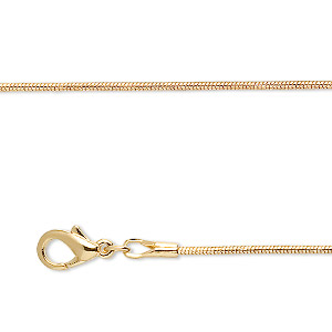 chain, gold-finished brass, 1mm snake, 18 inches with 1-inch extender chain and lobster claw clasp. sold per pkg of 4.