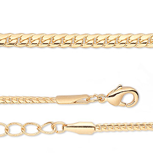 chain, gold-finished brass, 2mm curb, 18 inches with 1-1/4 inch extender chain and lobster claw clasp. sold per pkg of 2.