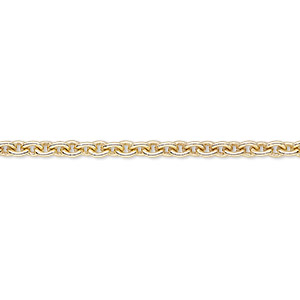 chain, gold-finished brass, 3mm cable. sold per pkg of 5 feet.