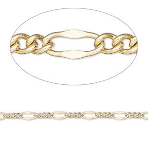chain, gold-finished brass, 3mm figaro. sold per pkg of 5 feet.
