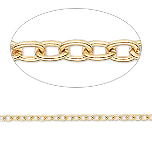chain, gold-finished brass, 3x2.5mm cable. sold per pkg of 50 feet.