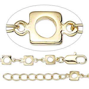 chain, gold-finished brass, 3x2mm oval and 5x5mm open square, 36 inches with 1-1/4 inch extender chain and lobster claw clasp. sold individually.