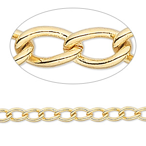chain, gold-finished brass, 4mm curb. sold per pkg of 50 feet.