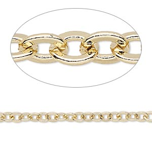chain, gold-finished brass, 4mm flat cable. sold per pkg of 5 feet.