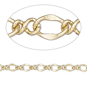 chain, gold-finished brass, 4mm flat figure 8. sold per pkg of 5 feet.