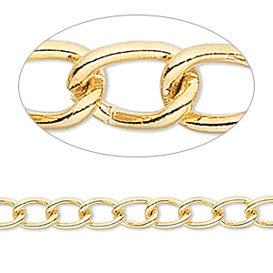 chain, gold-finished brass, 5mm curb. sold per pkg of 50 feet.