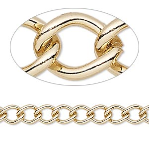 chain, gold-finished steel, 6mm curb. sold per pkg of 5 feet.