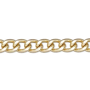 chain, gold-finished steel, 7mm flat curb. sold per 50-foot spool.