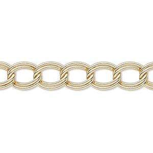 chain, gold-finished steel, 8mm double curb. sold per 50-foot spool.