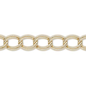 chain, gold-finished steel, 8mm double curb. sold per pkg of 5 feet.