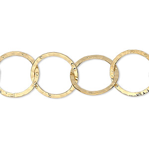 chain, gold-plated brass, 14mm hammered round cable. sold per pkg of 5 feet.