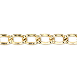 chain, gold-plated steel, 6mm curb. sold per pkg of 5 feet.