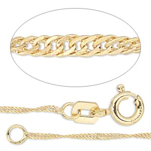 chain, gossamer™, 14kt gold-filled, 1mm singapore, 18 inches with springring clasp. sold individually.