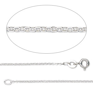 chain, gossamer™, sterling silver, 1.2mm rolo, 18 inches with springring clasp. sold individually.