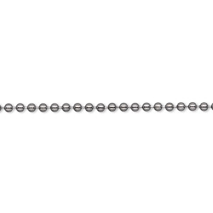 chain, gunmetal-plated brass, 1.5mm ball, 7-1/2 inches with 1-1/4 inch extender chain and lobster claw clasp. sold per pkg of 6.