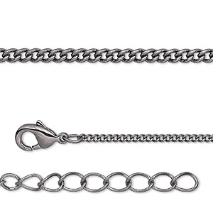 chain, gunmetal-plated brass, 1.5mm curb, 7-1/2 inches with 1-1/4 inch extender chain and lobster claw clasp. sold per pkg of 6.