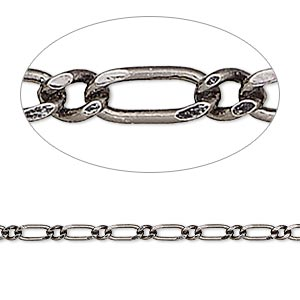 chain, gunmetal-plated brass, 2.5mm long and short oval. sold per pkg of 5 feet.