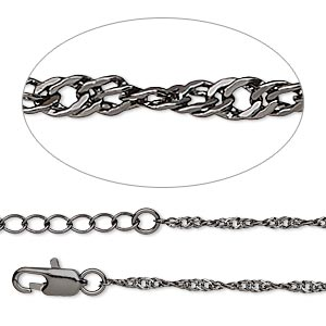 chain, gunmetal-plated brass, 2mm singapore, 7-1/2 inches with 3-inch extender chain and lobster claw clasp. sold per pkg of 2.