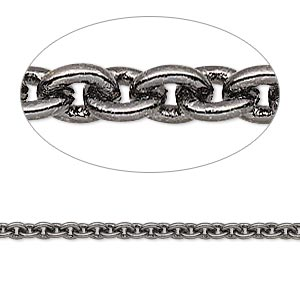 chain, gunmetal-plated brass, 3mm cable. sold per pkg of 5 feet.