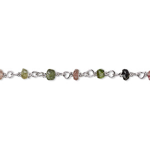 chain, multi-tourmaline (natural) and rhodium-plated sterling silver, 3.5x2mm-4x2.5mm hand-cut faceted beaded rondelle. sold per 36-inch strand.
