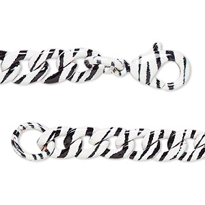 chain, painted steel, black and white, 5.5mm curb with zebra print pattern, 7 inches with lobster claw clasp. sold individually.