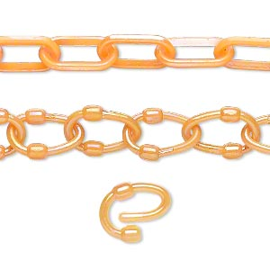 chain, plastic, orange ab, 7mm oval with 9mm oval link. sold per pkg of (5) 16-inch sections.