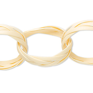 chain, rattan, natural color, 24mm braided circle links, five link strands. sold per pkg of 4.