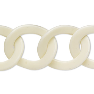 chain, resin, cream, 29x24mm twisted oval. sold per pkg of 16 inches.