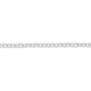 chain, silver-finished brass, 2.5mm cable. sold per pkg of 5 feet.