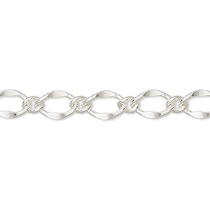 chain, silver-finished brass, 6mm long and short oval. sold per pkg of 5 feet.