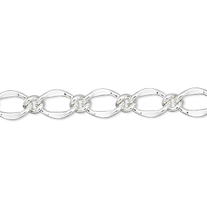 chain, silver-finished brass, 6mm long and short oval. sold per pkg of 50 feet.