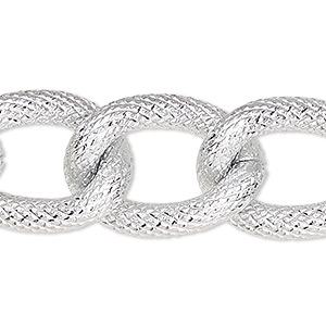 chain, silver-plated aluminum, 19mm textured curb. sold per pkg of 25 feet.