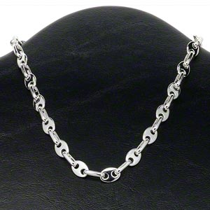 chain, silver-plated brass, 11x8mm and 13x7mm open and closed oval links, 16 inches with lobster claw clasp. sold individually.