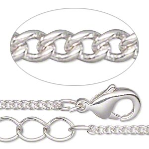 chain, silver-plated brass, 1.5mm curb, 16 inches with 1-1/4 inch extender chain and lobster claw clasp. sold per pkg of 4.
