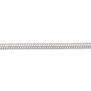 chain, silver-plated brass, 1mm snake, 7-1/2 inches with 1-1/4 inch extender chain and lobster claw clasp. sold per pkg of 6.