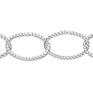 chain, silver-plated brass, 21x14mm twisted oval. sold per pkg of 5 feet.