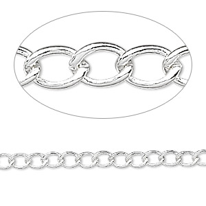 chain, silver-plated brass, 3.5mm curb. sold per pkg of 5 feet.