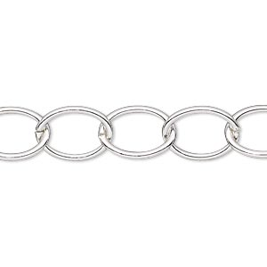 chain, silver-plated steel, 10mm oval cable. sold per pkg of 5 feet.