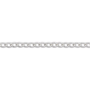 chain, silver-plated steel, 2.5mm curb. sold per pkg of 5 feet.