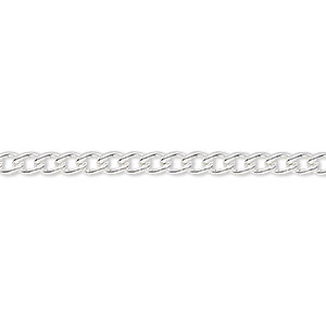 chain, silver-plated steel, 3.2mm curb. sold per pkg of 5 feet.