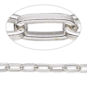 chain, silver-plated steel, 5mm long cable. sold per pkg of 5 feet.