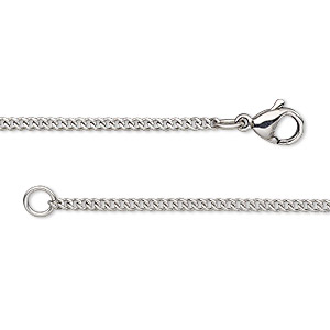 chain, stainless steel, 1.7mm curb, 16 inches with lobster claw clasp. sold individually.