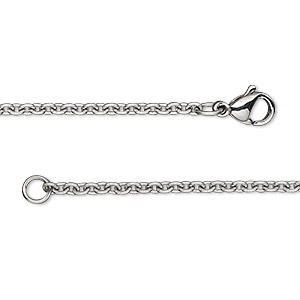 chain, stainless steel, 2.2mm cable, 24 inches with lobster claw clasp. sold individually.