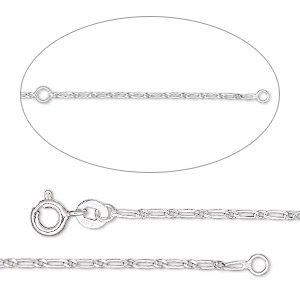 chain, sterling silver, 1.3mm figaro, adjustable at 18 and 20 inches with springring clasp. sold individually.