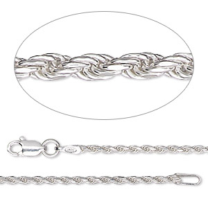 chain, sterling silver, 1.4mm diamond-cut french rope, 18 inches. sold individually.