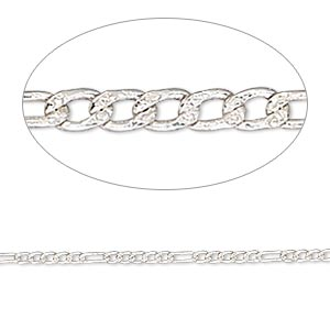 chain, sterling silver, 1.5mm figaro. sold per pkg of 5 feet.