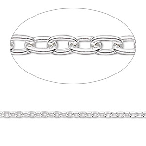chain, sterling silver, 1.6mm long cable. sold per pkg of 5 feet.